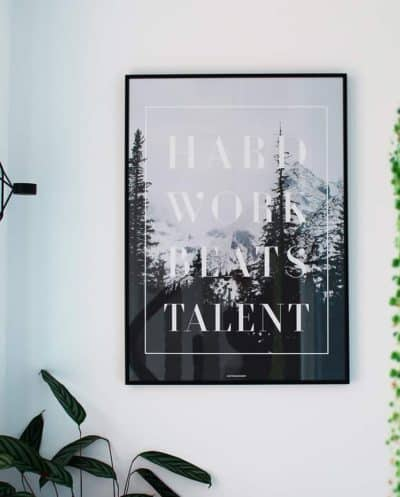 Hard work plakat - motivation, tekst og natur plakat