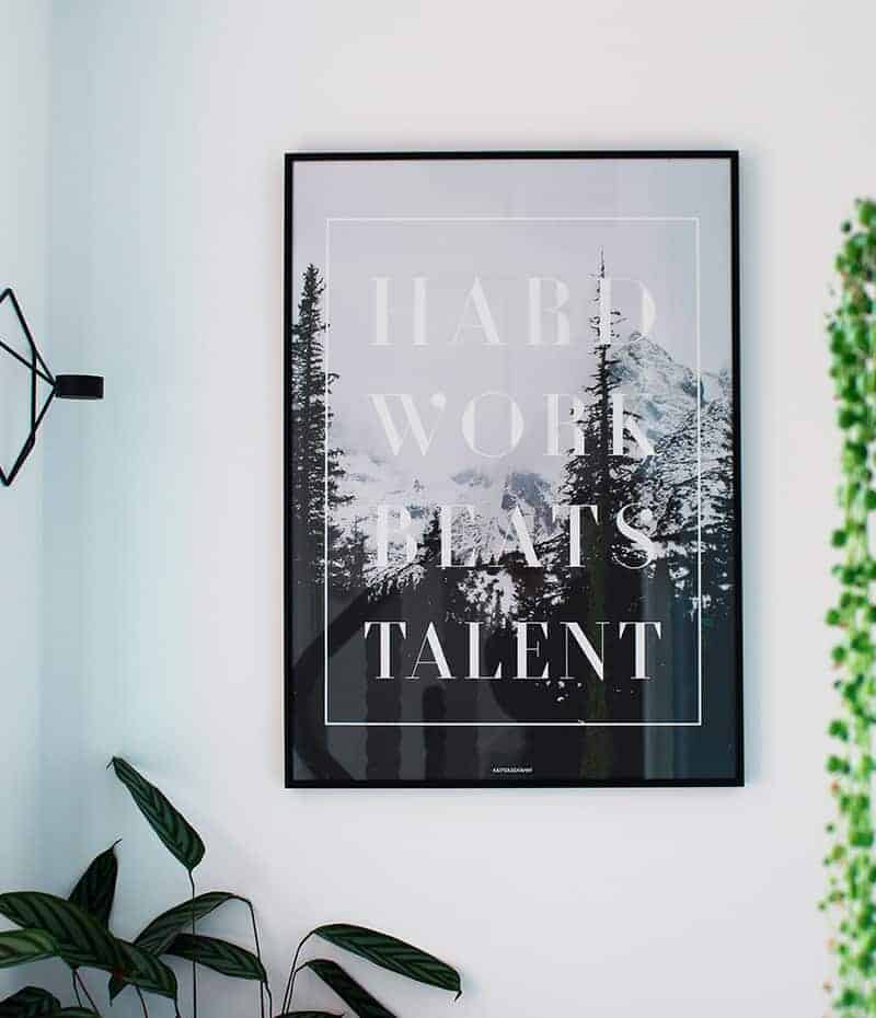 Hard work plakat - motivation, tekst og natur plakat