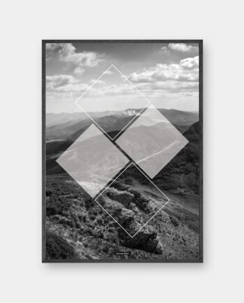 Mountain Square plakat - Sort hvid natur plakat med firkanter i sort ramme