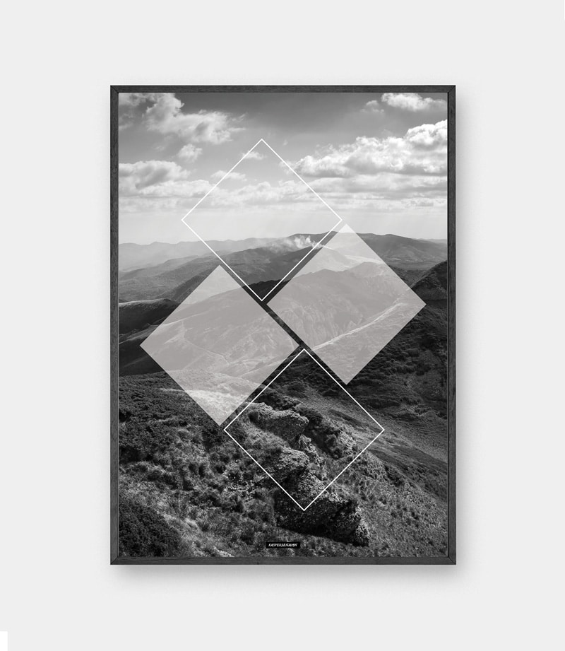 Mountain Square plakat - Sort hvid natur plakat med firkanter i sort ramme