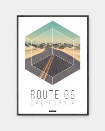 Route 66 plakat i mørk ramme