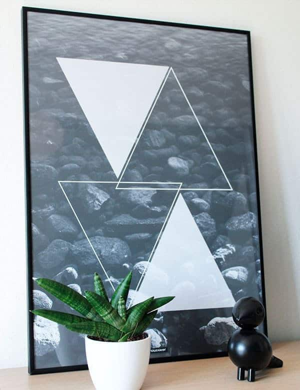 Sort hvide fotokunst - Water Triangle plakat
