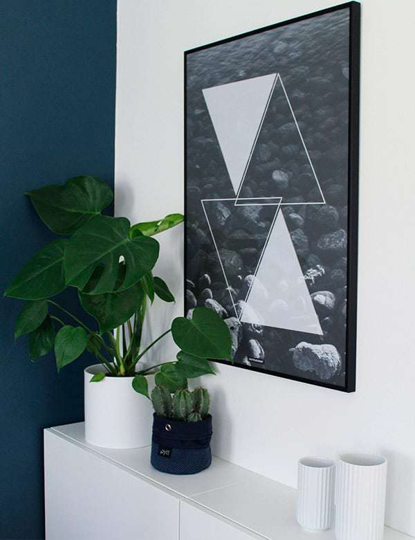 Sort hvid geometrisk natur - Triangle Water plakat