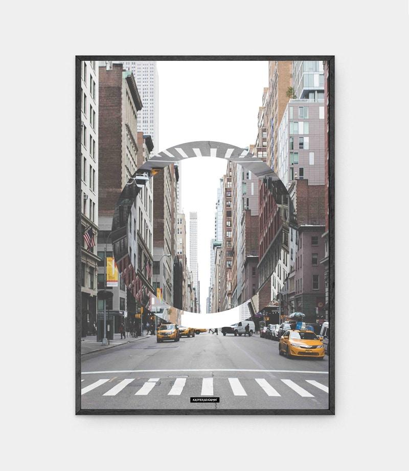 The city plakat i sort ramme