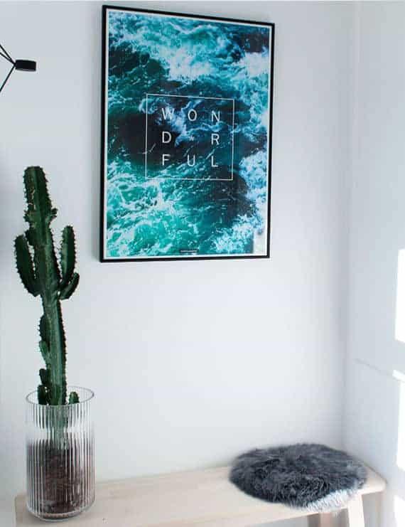 Natur plakat med hav og positiv tekst - Wonderful plakat