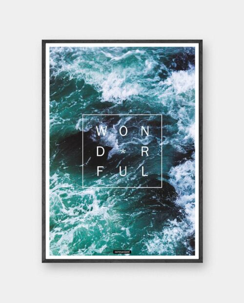 Wonderful plakat - Natur hav billede med motiverende tekst Wonderful i sort ramme