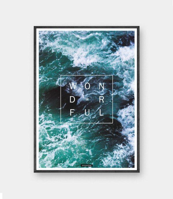 Wonderful plakat - Natur hav billede med motiverende tekst Wonderful i sort ramme