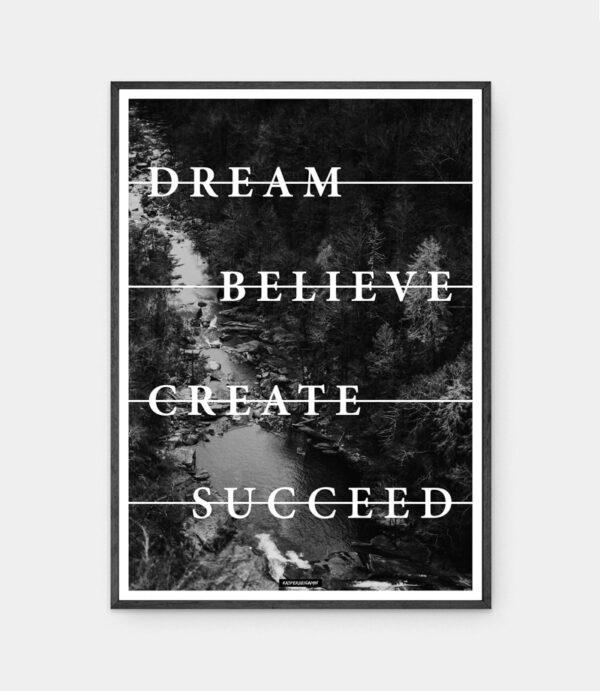 Believe plakat i sort ramme