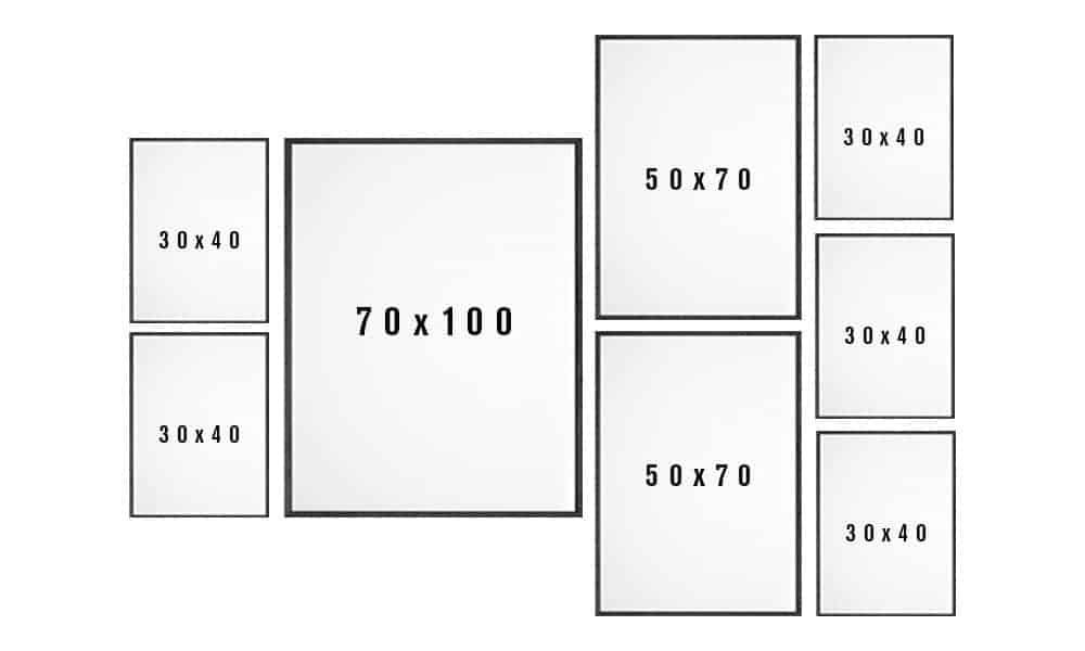 Billedvæg skabelon til stuen variant 6