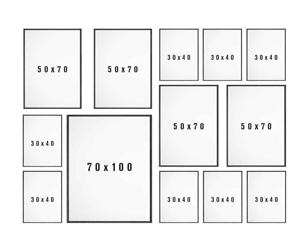 Billedvæg skabelon til stuen variant 9