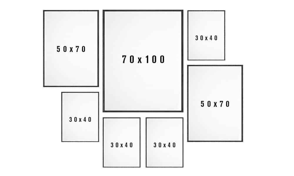 Billedvæg skabelon til stuen variant 7