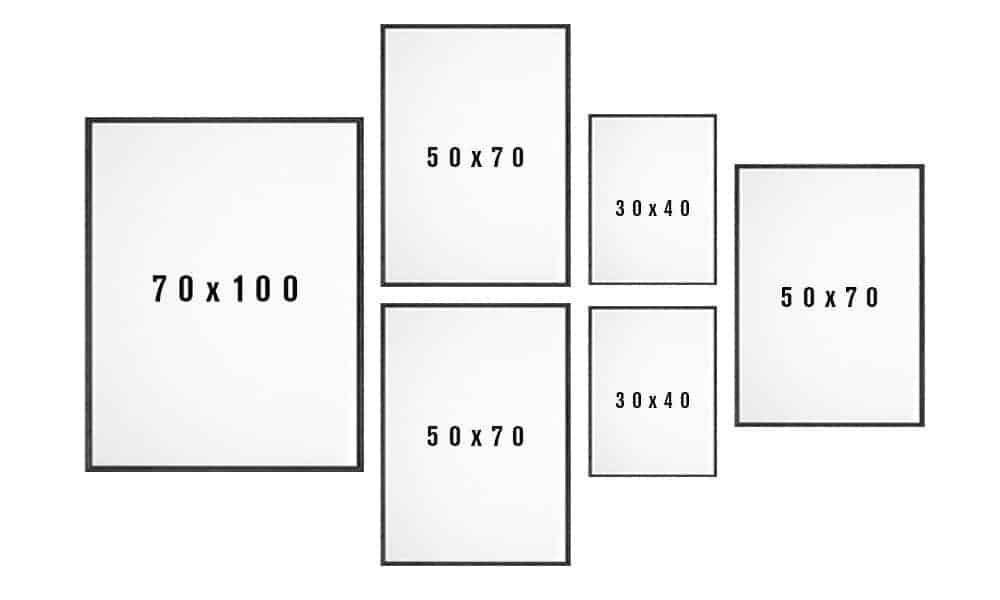 Billedvæg skabelon til stuen variant 8
