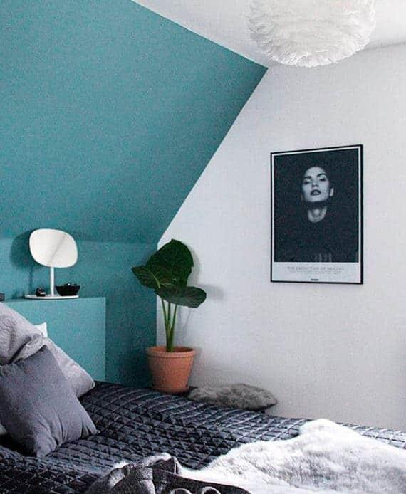 Miljobillede af sort hvid fotokunst plakat, Smile, i soveværelset