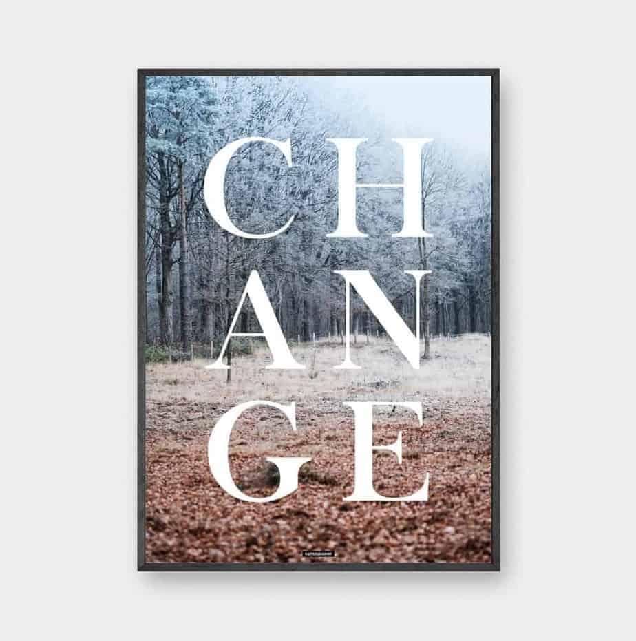 Plakat med citat med natur baggrund