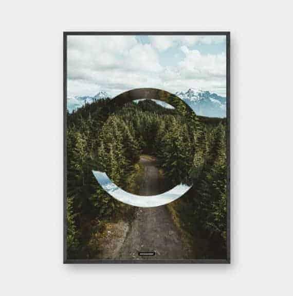 The Forest II er en natur skov design plakat med grønne træer og bjerge