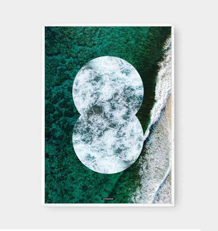 Natur fotokunst plakat design af vand