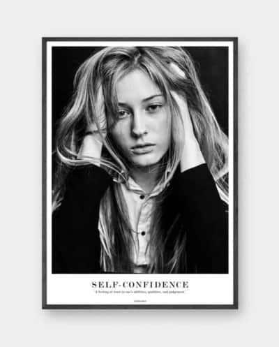 Plakaten self-confidence i sort aluramme