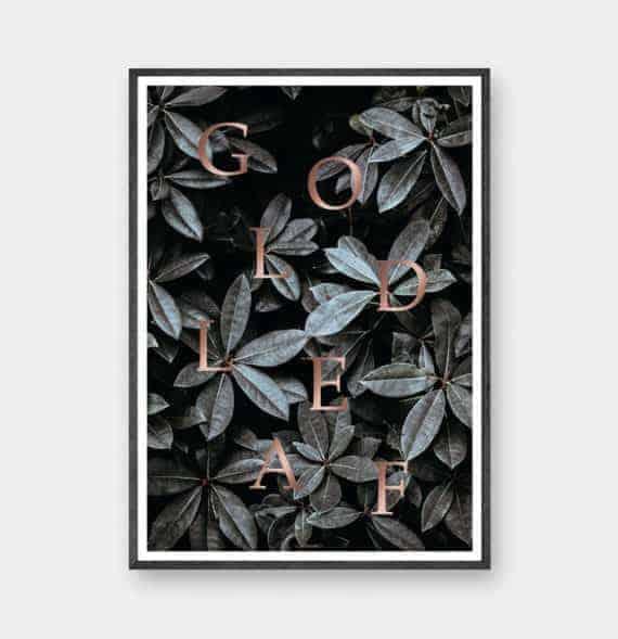 Botanisk plante plakat med mørke blade og rose gold tekst