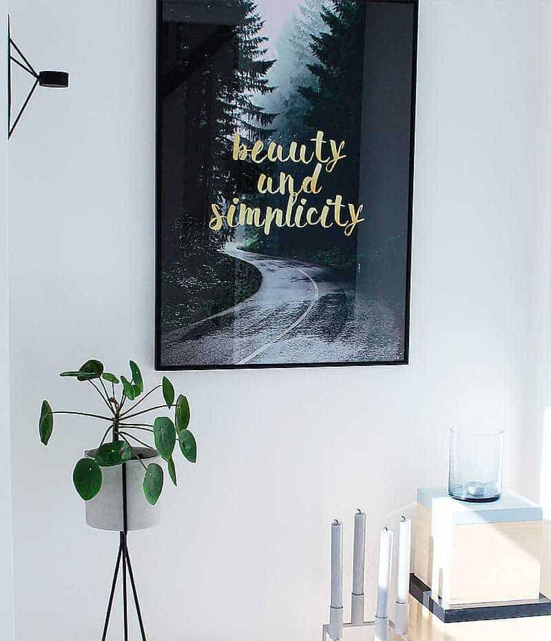 simplicity plakat - natur, tekst, guld