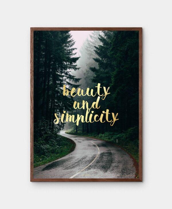Simplicity plakat - Natur skov billede med gylden tekst i mørkebrun ramme