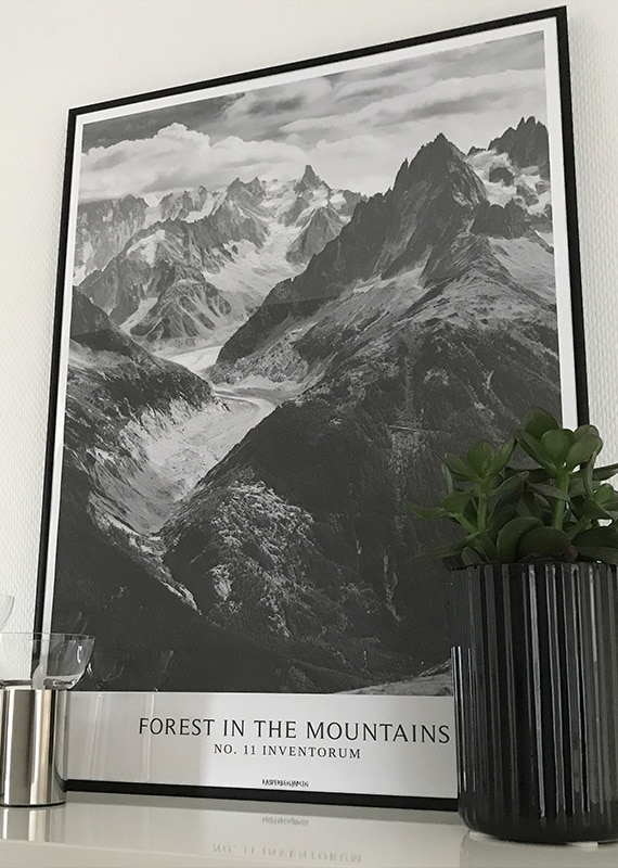Forest In The Mountains sort hvid plakat med bjerge i sort aluminium ramme