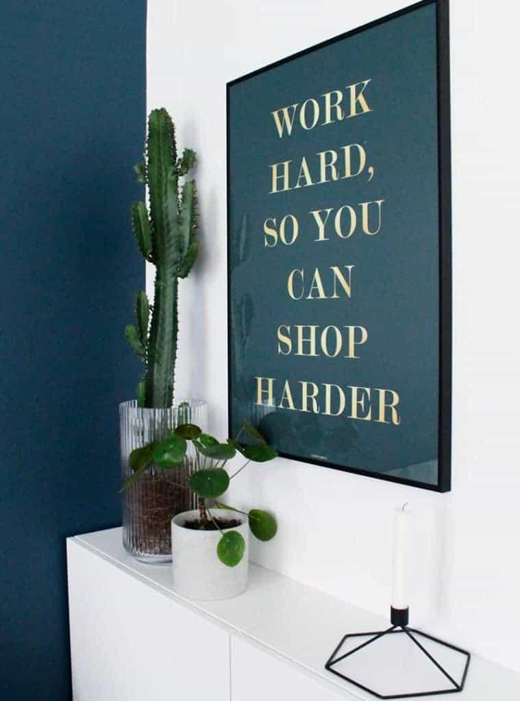 Guld tekst citat plakat - Shop Harder plakat