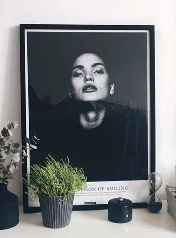 Sort hvid fotokunst med tekst - Smile plakat