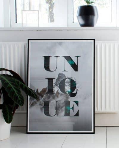 Unique plakat - Natur og tekst