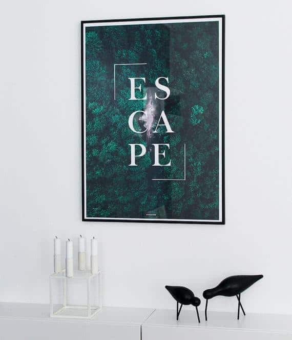 Escape plakat - Motiverende tekst og natur