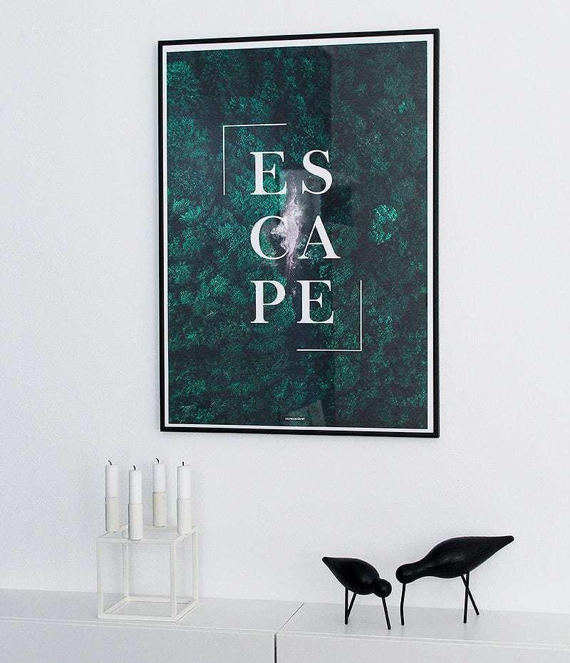 Escape plakat - Motiverende tekst og natur