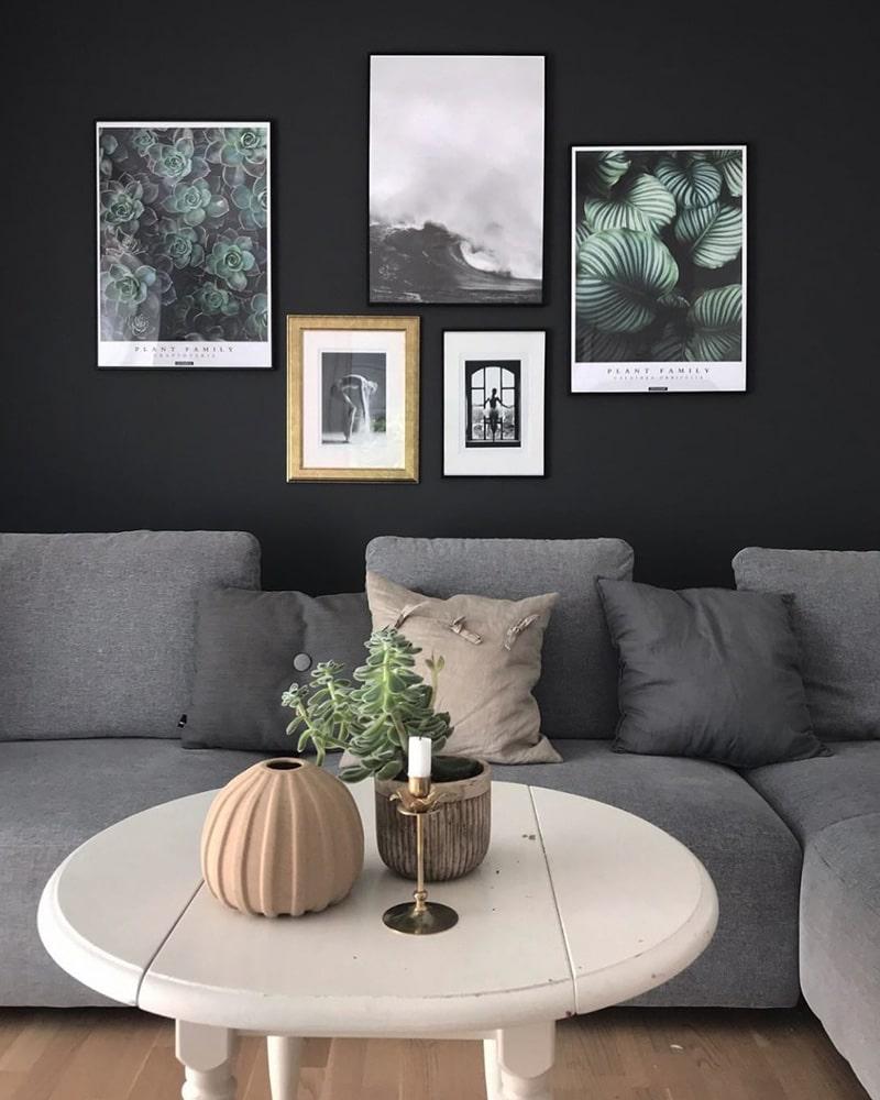 Graptoveria & Calathea Orbifolia plakatsæt - Plante plakater med tekst i billedvæg