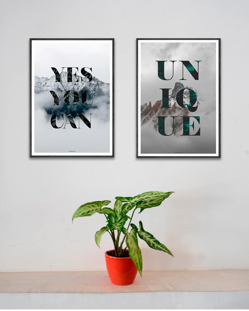 Plakatsæt - Yes You Can og Unique