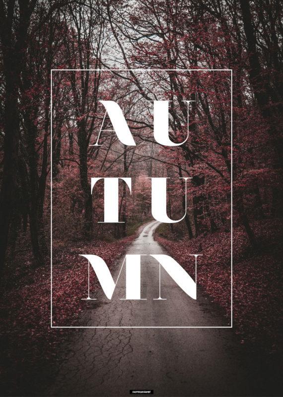 Autumn plakat - Natur og tekst plakat