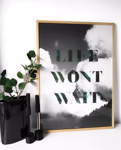 Life Wont Wait plakat - Natur og tekst plakat i massiv egetræ ramme