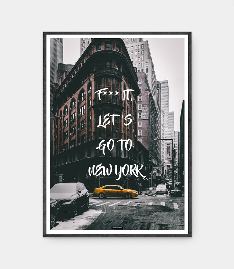 Go to New york plakat i mørk ramme