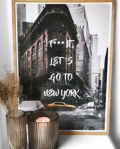 Go to New York plakat - By plakat fra New York City i massiv egetræ ramme