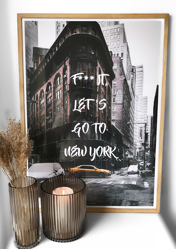 Go to New York plakat - By plakat fra New York City i massiv egetræ ramme