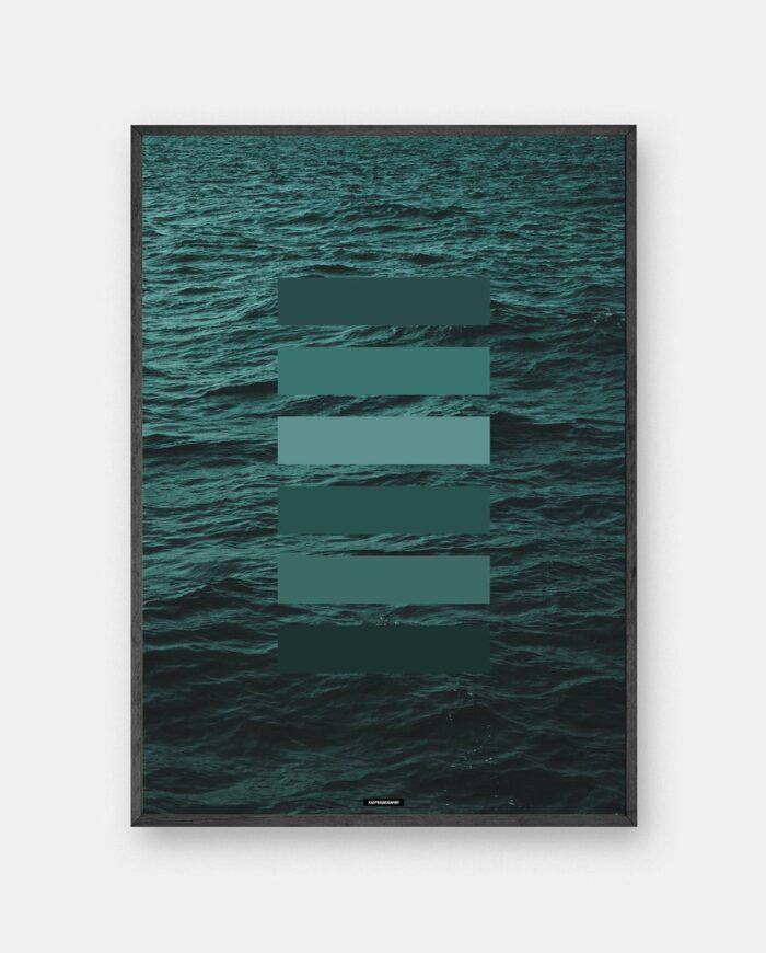 Green shades plakat med grønne farvenuancer i mørk ramme