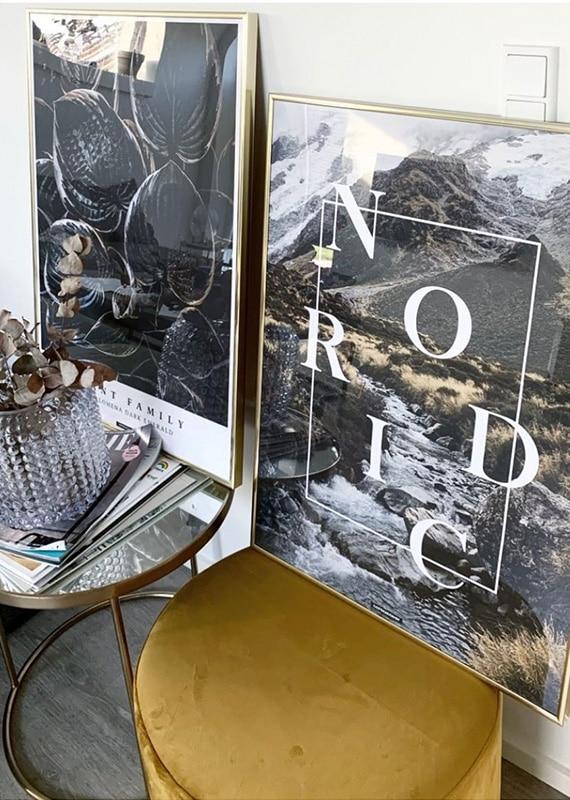 Nordic plakat og homalomena plakat i guldrammer i stuen
