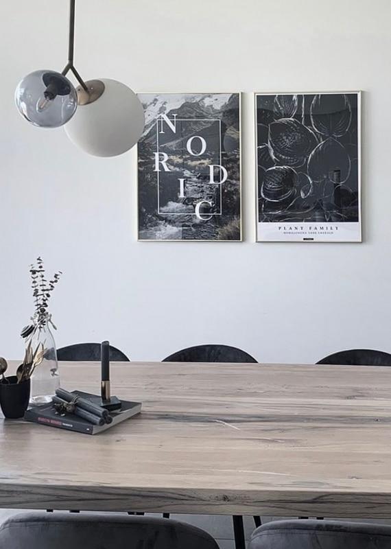 Nordic plakat med Homalomena plakat over spisebordet i guldrammer
