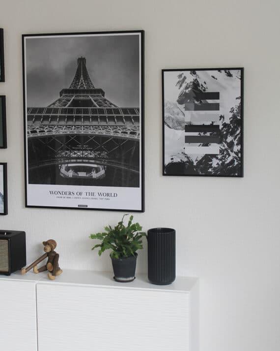 Paris plakat - Sort hvid by plakat med paris