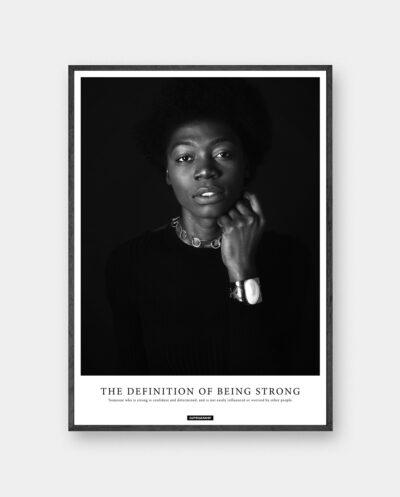 Strong plakat med sort hvid portræt af stærk kvinde