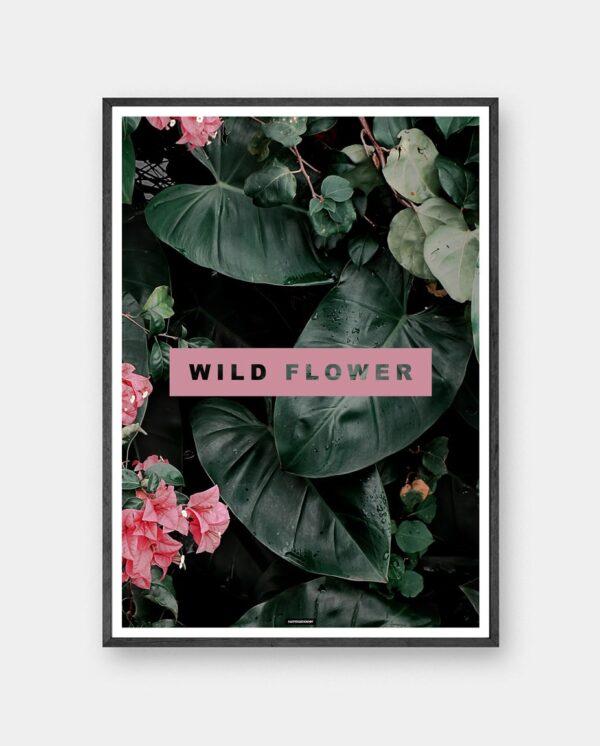 Wild Flower plakat med planter og blomster i mørk ramme