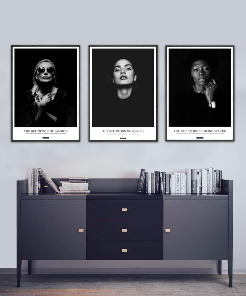 Attitude plakatsæt - 3 sort hvid plakater i plakatsæt