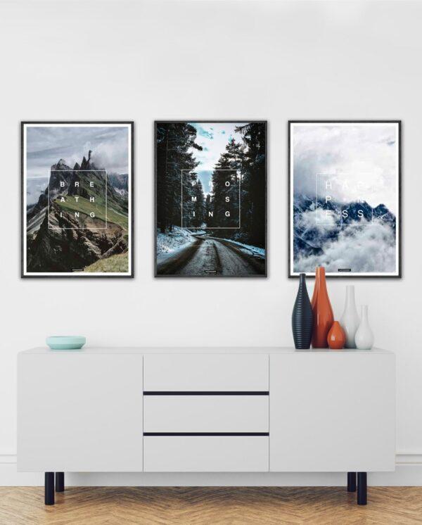 Positivity plakatsæt - 3 plakater i samme sæt