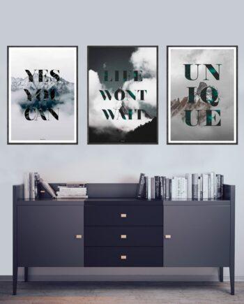 Quotes plakatsæt - 3 plakater med tekst som plakatsæt