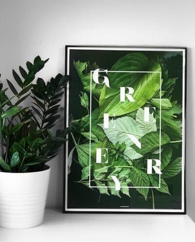 Greenery plakat på hvid kommode i sort aluminium ramme