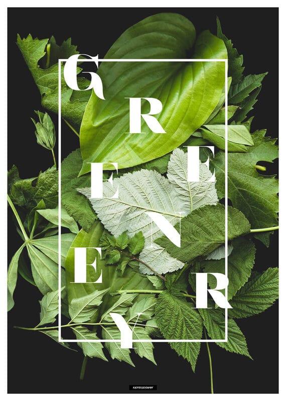 Plakat Greenery - botanisk plakat med greenery tekst med grøn baggrund