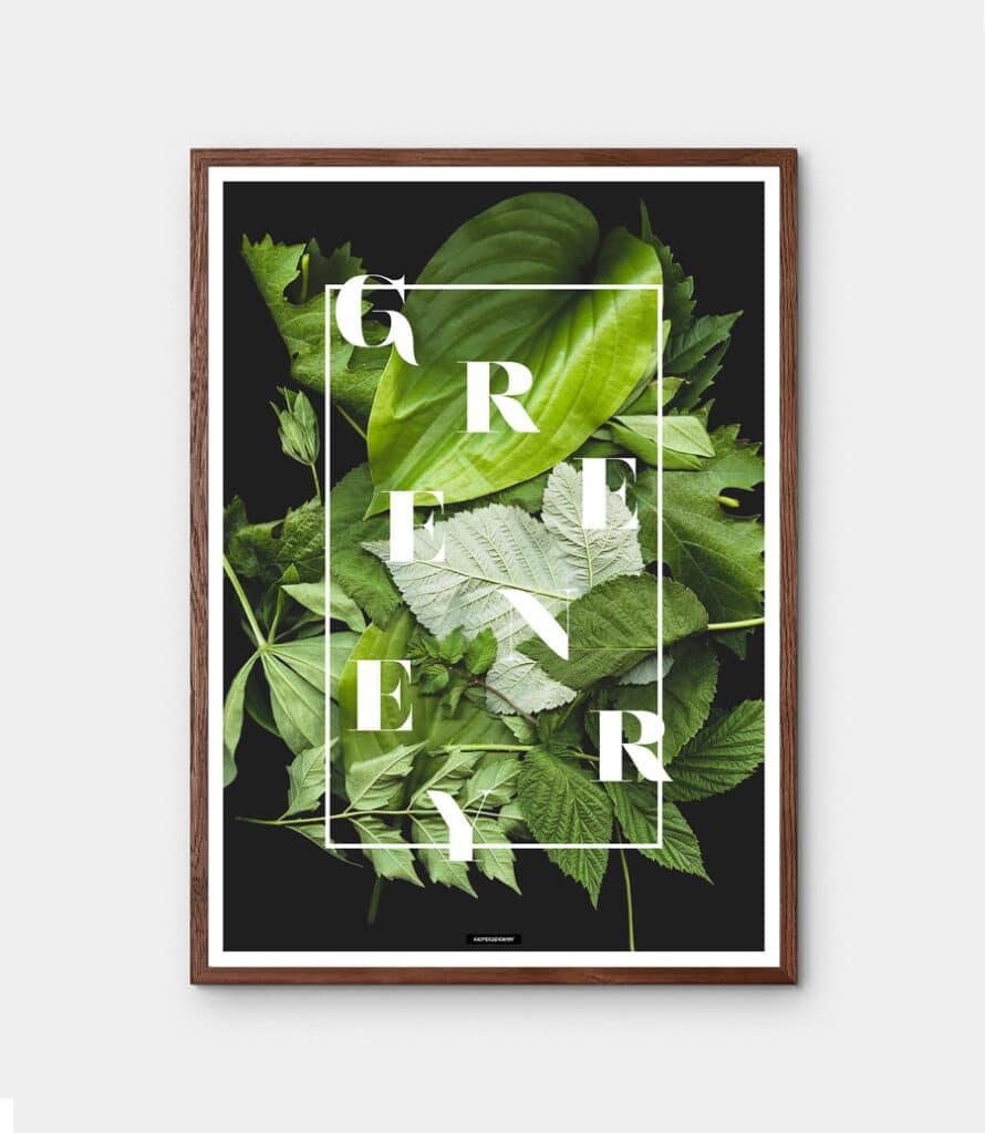 Greenery plakat - Botanisk plante plakat med tekst i mørk egetræramme