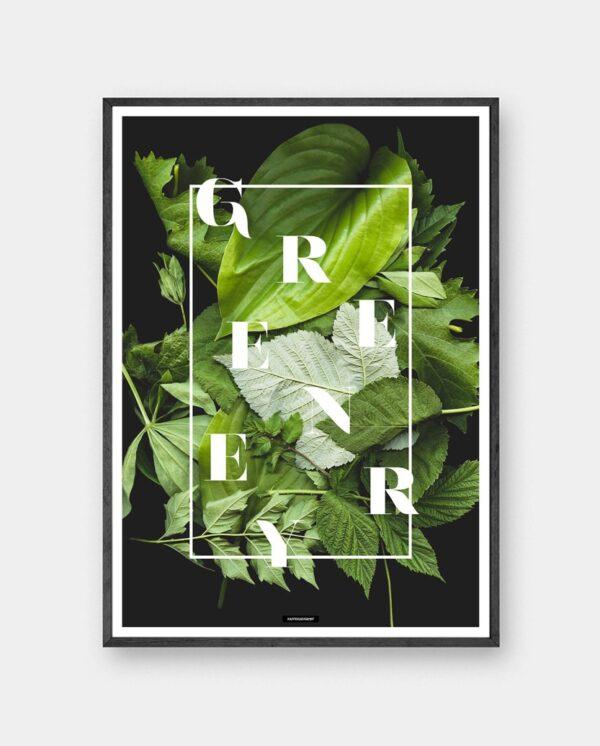 Greenery plakat med planter og blomster i mørk ramme